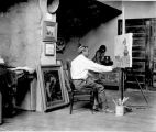 "Bert Phillips painting ""The Secret Olla"" in Taos, New Mexico"