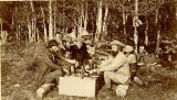 Hayden Survey party at dinner, Eagle River Canyon, 19 August, 1873
