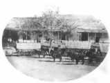 Elsberg-Amberg wagon train, Plaza, Santa Fe, New Mexico