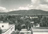 View of Santa Fe looking east from top of state capitol building, New Mexico