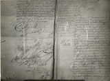 New Mexico Writers Projects, pages from Spanish archive from 1696 showing De Vargas' signature,...