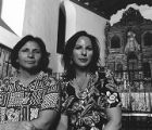 Gloria Trujillo (left) and her sister Mona Hernandez in Saint Francis Cathedral, Santa Fe, from...