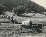 Wagon train crossing stream, New Mexico