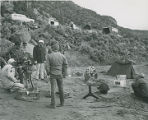 Filming television commercial on banks of Rio Grande River near Pilar, New Mexico