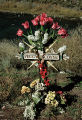 """Tulips and Folk Art Cross"", Route 68 along the Rio Grande; Embudo, New Mexico"