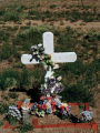 """White Cross with Flowers"", Frontage Road, I-25 South; Santa Fe, New Mexico"