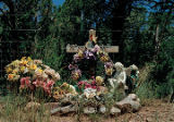 """Flowers and Angel Cross"", Pecos HIghway South; Pecos, New Mexico"