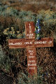 """Wooden Cross with Flowers"", Route 285 South, Eldorado; Santa Fe, New Mexico"