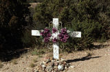 """Metal Cross, Purple Flowers"", High Road to Taos; Chimayo, New Mexico"