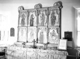 Altar and reredos in Mission Room, Palace of the Governors, Santa Fe, New Mexico