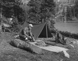 Atkinson setting up camp at Pecos Baldy Lake, New Mexico