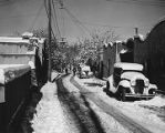 East De Vargas Street scene in winter, Santa Fe, New Mexico