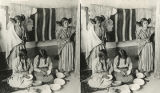 Hopi women decorating pottery, Arizona