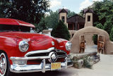 "Lowrider ""BBBBAD 50"" by Victor Martinez in front of Santuario de Chimayo, New Mexico"