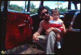 Jimmy Martinez and his niece in his lowrider car, New Mexico
