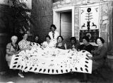 Stella Garcia and her colcha embroidery class, Federal Art Project (WPA), New Mexico