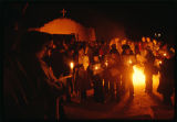 Crowd at Las Posadas Christmas event, Las Trampas, New Mexico