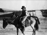 Unidentified man on horseback, Nambe Pueblo, New Mexico