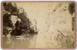 Three men in boat, Clear Creek Canyon, Colorado (?)