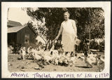 Alice Shearer (Nannie Traylor) feeding chickens, Elida, New Mexico
