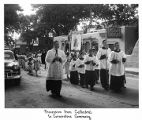 Procession from Saint Francis Cathedral to Saint Vincent's Hospital during cornerstone ceremony,...