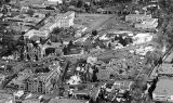 Aerial view of downtown looking east, La Fonda Hotel in lower left, Santa Fe, New Mexcio