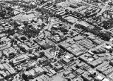 Aerial view of downtown Santa Fe, Plaza in center, New Mexico