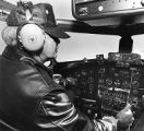 Pilot John Hess from Houston in cockpit of World War II B-17G bomber, Santa Fe, New Mexico