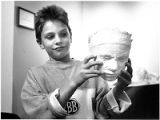 Josef Bachmeier with a plaster cast of his face, Santa Fe Children's Museum, Santa Fe, New Mexico
