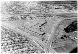 Aerial view of De Vargas Mall on corner of Paseo de Peralta and Guadalupe Street, Santa Fe, New...