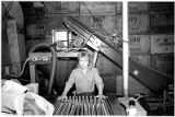 Becky Dixon operating the apple press for making cider, Dixon's Apple Orchard near Cochiti, New...