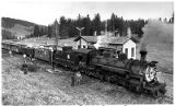 Cumbres and Toltec Railroad engine 487 takes on water at Cumbres Pass Station near Chama, New...