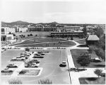 Birds eye view of College of Santa Fe showing dormitories in background, Santa Fe, New Mexico