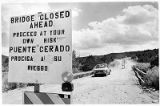 Bridge Closed Ahead sign on rural road, New Mexio