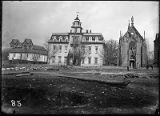 Loretto Academy school in center, Loretto Chapel on right with Archbishops residence and Saint...