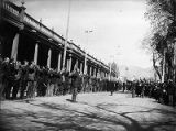Rough Rider recruits pledging oath of allegiance in front of Palace of the Governors, Santa Fe,...