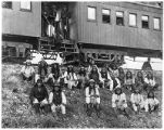 Chiricahua Apache prisoners in transit to Fort Marion, Florida, including Geronimo (first row,...