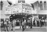 Crowd outside the Lensic Theater on San Francisco Street to watch Santa Fe Film Festival western...