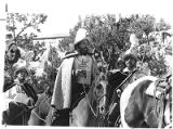 Orlando Gallegos as Don Diego de Vargas leads Fiesta procession, Santa Fe, New Mexico
