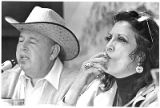 Producer Alex Gordon and actress Katy Jurado at symposium in Palace of the Governors courtyard,...