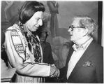 Actor Iron Eyes Cody and screenwriter Niven Busch, Santa Fe Film Festival, Santa Fe, New Mexico