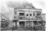 Fire in commercial building on the corner of Lincoln Avenue and San Francisco Street, Santa Fe,...
