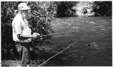 Joe Montoya of Santa Fe fishing on the Pecos River, New Mexico
