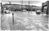 Flood waters on Galisteo and Water streets in downtown, Santa Fe, New Mexico