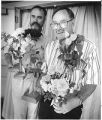 Bill Christiansen, left and Greg Hill, sweepstakes winners in the 31st Annual Rose Show of the...
