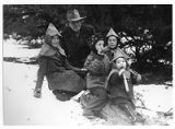 Finding the yule log, Ernest Thompson Seton with Bonnie (Junie) Robbins, Betty Jo Robbins, Johnny...