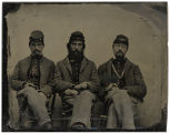 Three men in Union Army uniform; Jack Kates, Jeff Sturman and Tom Bond, Company D, 2nd Minnesota...