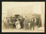 Group in front of saloon, unidentified location