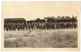 Company of United States soldiers (perhaps New Mexico National Guard?), arriving in Belen, New...