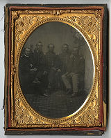 Group of five men in Union Army uniforms, Civil War era